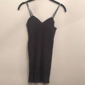 Ksubi black tight mesh distressed minidress